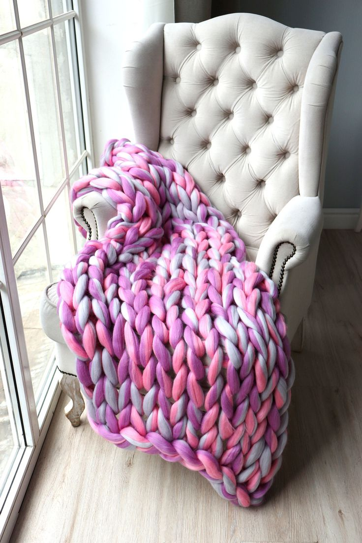 Chunky Blanket Arm Knit Purple Giant Merino Blanket Bulky Knit