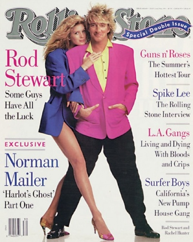 '80s Rolling Stone Magazine Cover with Rod Stewart and then wife New Zealand Super Model Rachel Hunter