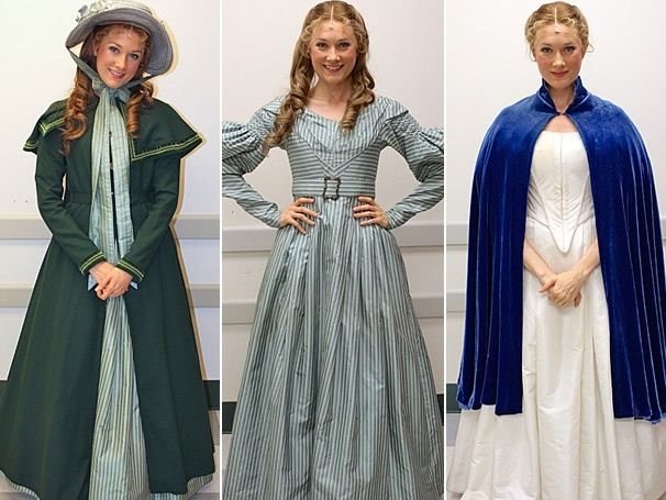 Some of Carlotta's costumes for her part as Cosette (grown up) in Les Miserables, her 7th performance, August 2020.