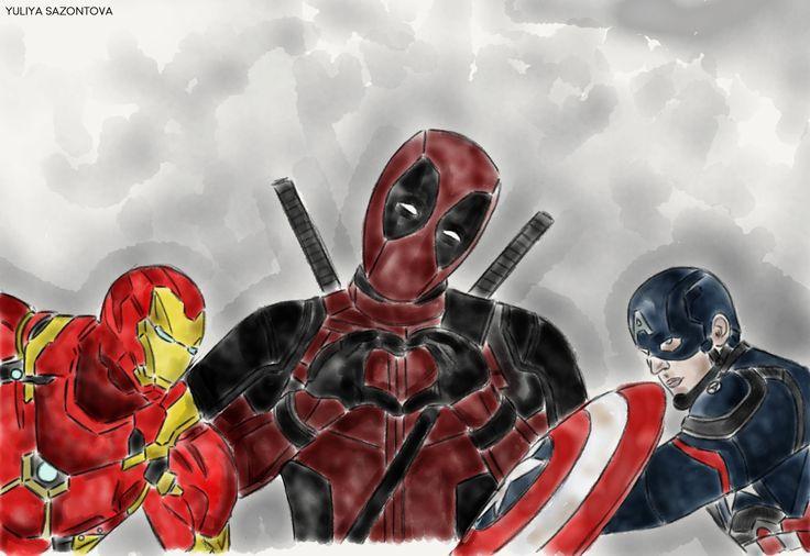 Civil War #iron man #deadpool #captain america #marvel #sketch #drawing #avengers