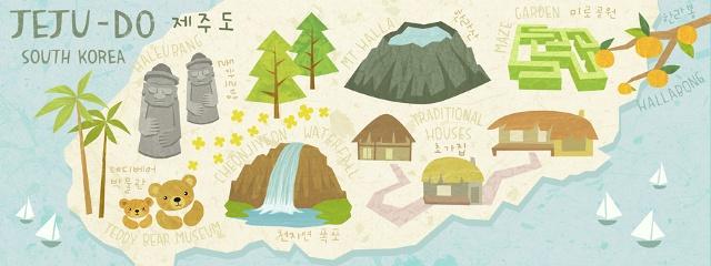 Map of Jeju Island (Jeju-Do), Korea