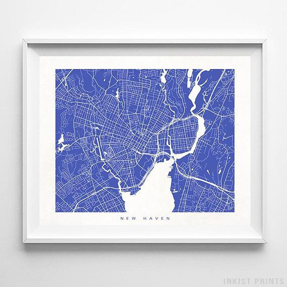 New Haven, Connecticut Street Map Wall Art Poster - 70 Color Options - Prices from $9.95 - Click Photo for Details - #streetmap #map #homedecor #wallart #NewHaven #Connecticut