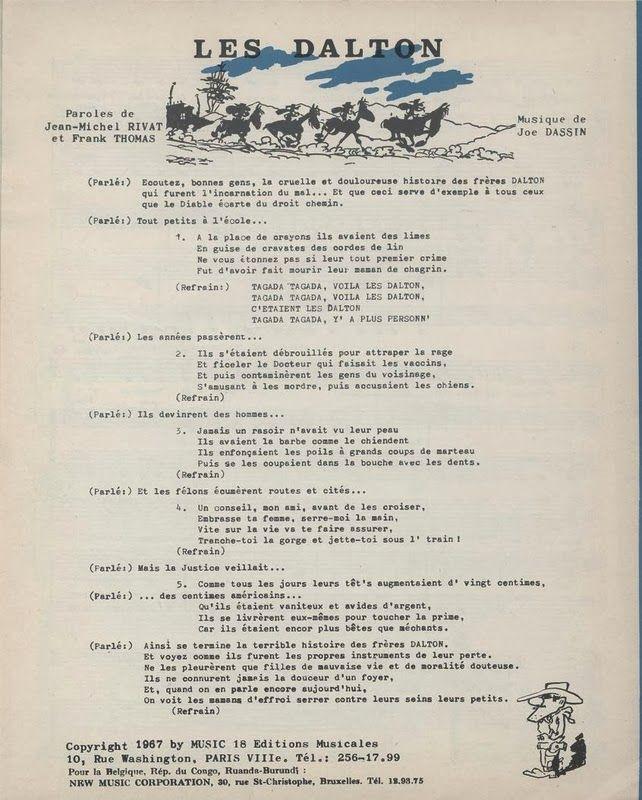 Blue Country - La Discographie de Joe Dassin: Partition - Joe Dassin - Les Dalton