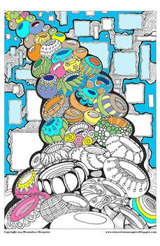 Pots - Printable Colouring Page for Adults and Children.