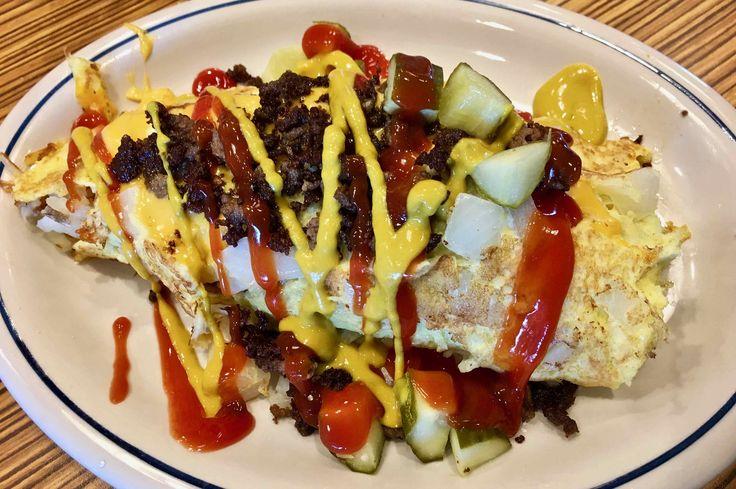 https://flic.kr/p/WGbLDE   cheeseburger omelette IHOP   www.placesiveeaten.com/blog/ihop-cheeseburger-omelette