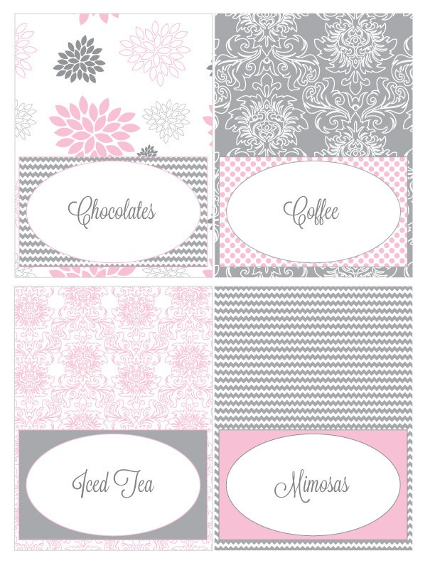 pink and grey dahlia printable food tent cards food tent baby