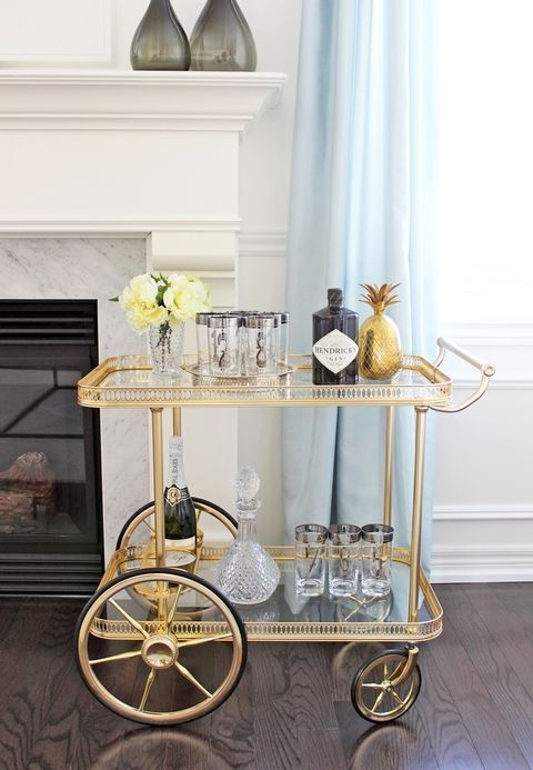 Bar Cart Styling Ideas - How To Style a Bar Cart VintageStyleLiving.com