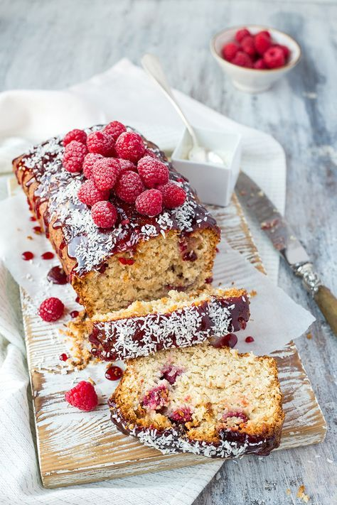 Raspberry and coconut cake.