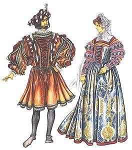 Французский костюм 16 век. Дублет с рукавами-бур на шнуровке, барет с прорезями. Женский костюм: парчовое платье с рукавами-бур