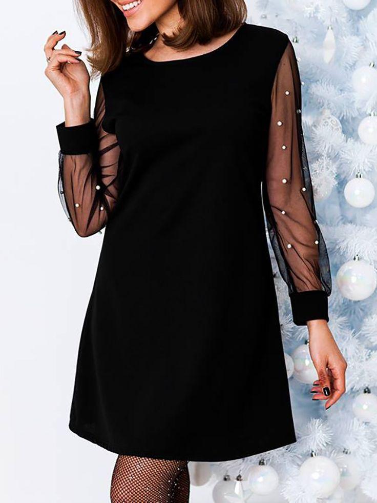 Beaded Mesh Long Sleeve Tunic Dress (S/M/L/XL) $28.99