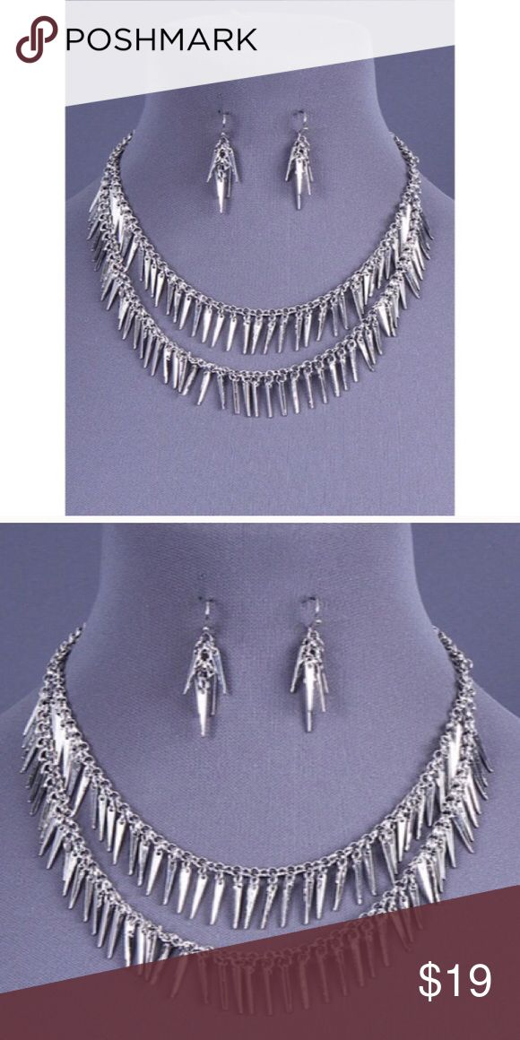 New LAST 1 Edgy Fringe Necklace/Earring Set Edgy Chic Fringe Statement Necklace                INCLUDED EARRINGS 1.25 IN L  EXTENDER 3 IN L - Material...