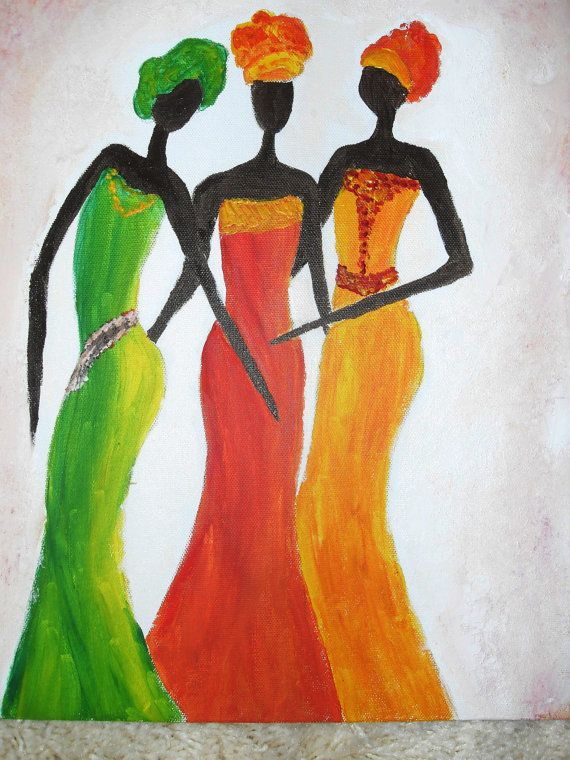ACRYLIC ABSTRACT AFRICAN Painting  African Ladies 2 Dance Romantic, Wall Art women/ Colorful Red Green yellow orange dress/Africa culture on Etsy, $77.67