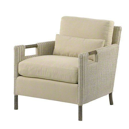 The Thomas Pheasant Woven Core Lounge Chair and matching ottoman are scaled for comfort. The lounge chair welcomes one with a loose back pillow, sophisticated kidney pillow and a generous seat cushion, all filled with a luxurious down-and-feather blend. The seat cushion rests on a fully sprung deck.