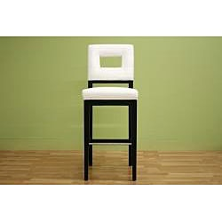 overstock drawing inspiration from geometry this leather bar stool offers a modern - White Leather Bar Stools