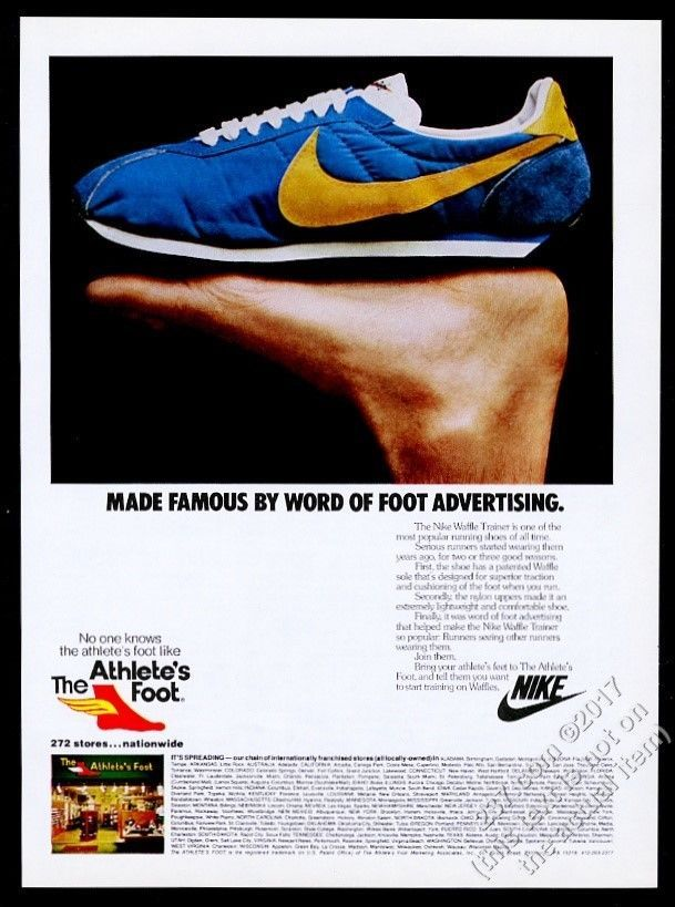 1979 Nike Waffle Trainer running shoe photo The Athlete's Foot vintage print ad