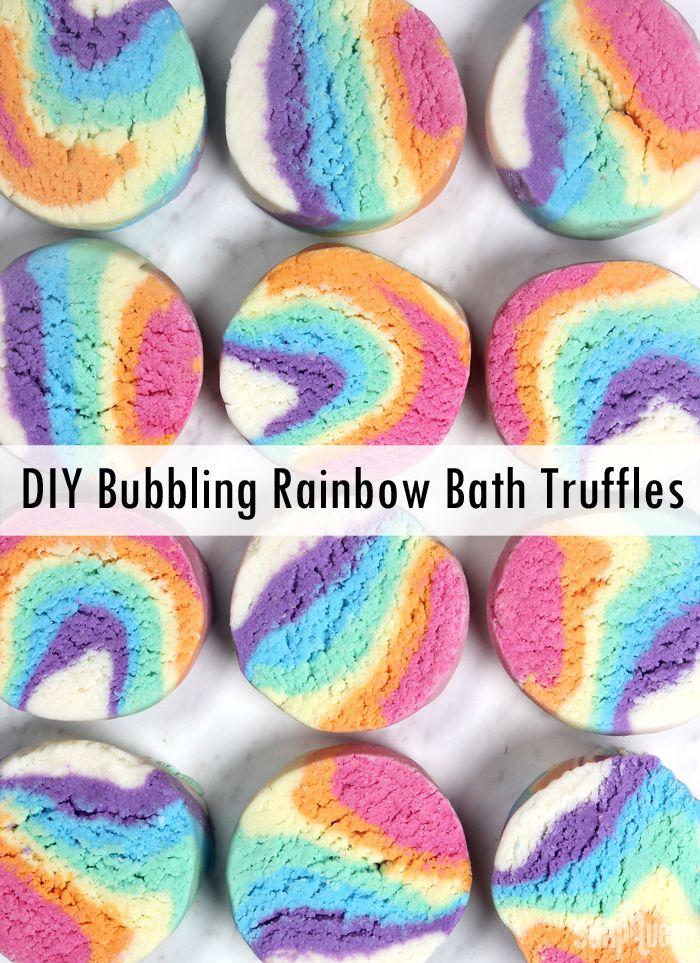 DIY Rainbow Bubbling Bath Melts