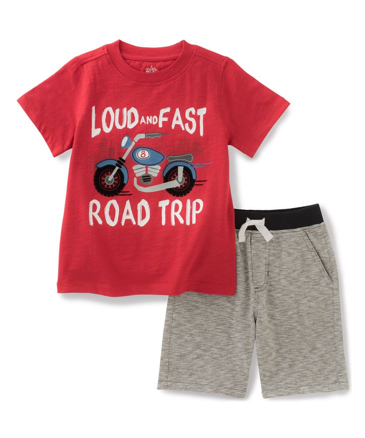 Red 'Road Trip' Tee & Gray Shorts - Infant Toddler & Boys