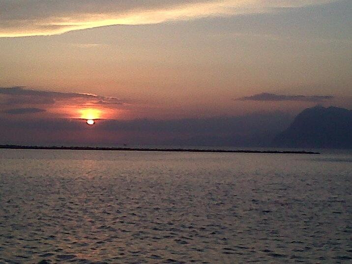 Sunset leaving Greece