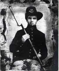 Cpl. William Henry Dickson, Company I, 58th Ohio Infantry.  Wounded at Shiloh on April 7th. Shot in the left hand and later discharged for disability on December 14th, 1862 at Columbus, Ohio. Alternately listed as Cpl. Henry H. Dixon in some records.