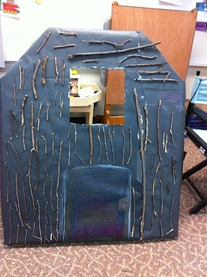 """This is a great blog from a kindergarten teacher.  Lots of good ideas.  This picture is from an activity for """"The Three Little Pigs""""  they made 3 house cutouts, with the 3 different materials painted or glued on and then acted out the story.  My kids would love to do this."""