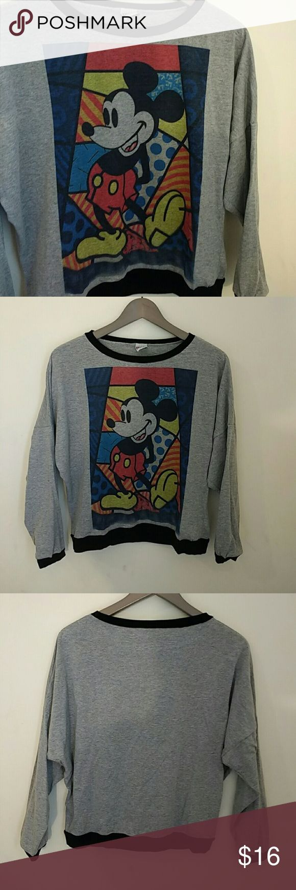"Mickey Mouse Top Grey/black/blue/red/yellow Mickey Mouse printed top. Batwing sleeves. Fits loosely. No size, but fits like small.   Brand: Bovy  Length: 21"" Bust: 24"" Tops Tees - Long Sleeve"