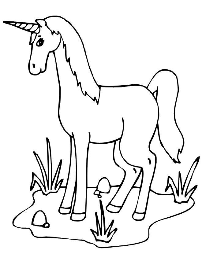 unicorn coloring page unicorn standing alone in field