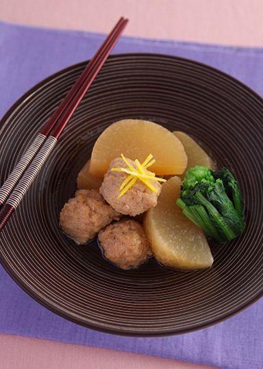 大根と鶏団子の煮物 ゆず風味 のレシピ・作り方 │ABCクッキングスタジオのレシピ   料理教室・スクールならABCクッキングスタジオ