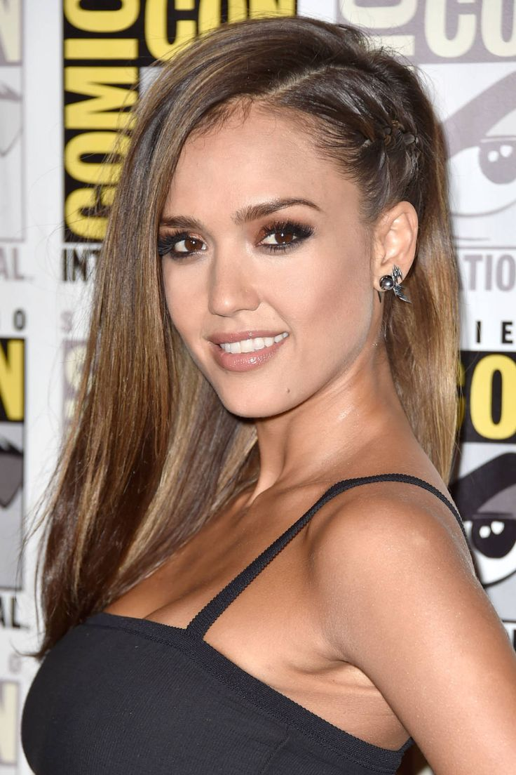 Jessica Alba's cornrow hairstyle is modern and funky yet sophisticated. See more celebrity beauty tips and tricks here!