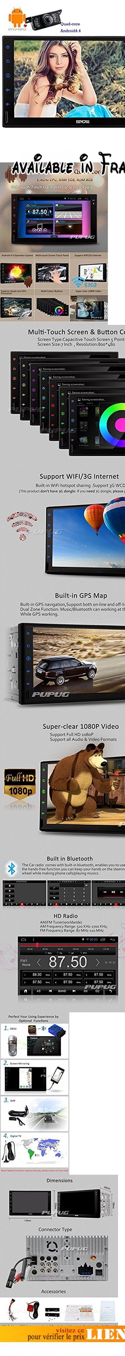 Eincar Quad-core Android4.4 Car Stereo Universal 2po Dash Sat Nav 7 pouces voiture Tablet st¨¦r¨¦o Navigation GPS Headunit soutien Radio AM / FM / Bluetooth / SD / USB / OBD2 / 3G / Wifi / DVR / 1080P / commande au volant Syst¨¨me multim¨¦dia HD capacitif multi-points joueur No-DVD + HD Cam¨¦ra de recul. 1. Pur android PC 4.4 voiture avec plus rapide Quad-core CPU, support Hotspot / 3G / Wifi pour surfer sur Internet, tšŠlšŠcharger des jeux et application sur