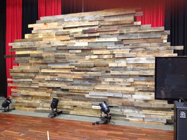 Pallet wall | Church stage, Church stage design, Stage design
