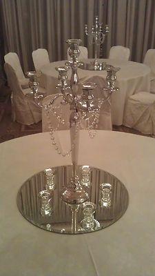 WEDDING SILVER CANDELABRA HIRE TABLE CENTREPIECES DECORATION
