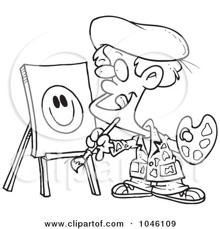 Royalty-Free (RF) Clip Art Illustration of a Cartoon Black And White Outline Design Of A Boy Painting A Smiley Face by Ron Leishman