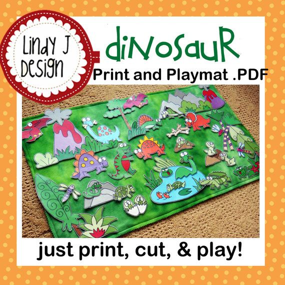 DINOSAUR Land Print and Play Mat playmat .PDF by LindyJDesign