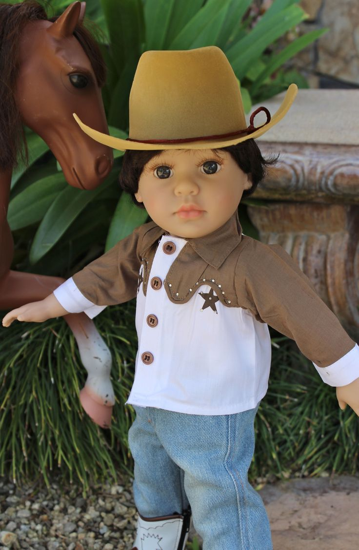 "18"" BOY DOLL MASON, same size as American Girl 18"" Dolls, wearing a rodeo outfit for 18"" boy dolls. Visit our store www.harmonyclubdolls.com"