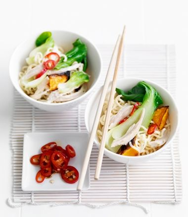 If you have left over cooked Chicken, and Roasted Pumpkin you can make this VERY COOL Bok Choy Noodle Salad Recipe (via MiNDFOOD).  Remember a Great Revamp - is turning leftovers into an exciting Sequel = Mission Accomplished here!