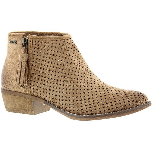 Roxy Fuentes Women's Brown Boot 7 M ($79) ❤ liked on Polyvore featuring shoes, boots, brown, short boots, summer boots, summer ankle boots, mid-heel boots and ankle boots