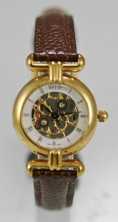 Relic Watch Womens Silver Skeleton Stainless Gold Brown Leather Water Res Quartz