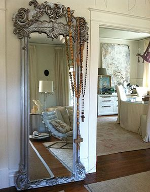 very pretty free standing mirror the large rosaries have become such a decorating focal