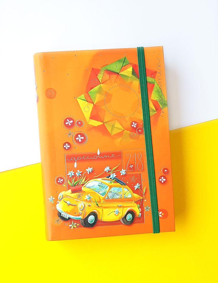 Agenda 16 mesi Goccioline 2017-2018 colore arancione con la Fiat 500 gialla in copertina - 16 month school planner 2017-2018
