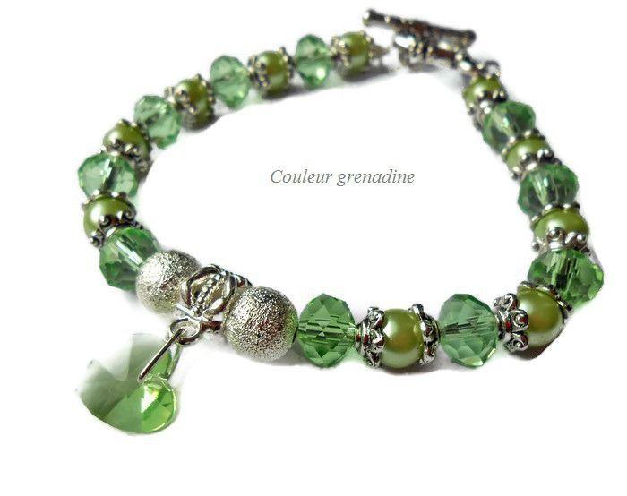bracelet f te des m res perles coeur swarovski bracelet par couleur grenadine33 artisans. Black Bedroom Furniture Sets. Home Design Ideas
