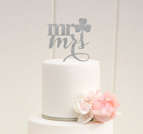 Mr and Mrs Shamrock Wedding Cake Topper  Irish by ThePinkOwlDesigns--color customized!
