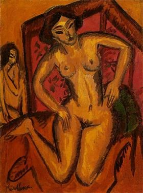 Female Nude Kneeling before a Red Screen - Ernst Ludwig Kirchner