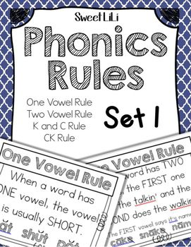 Phonics Rules Set 1 - In this packet you will find 4 different phonics rules in a poster form. Set 1 includes -  - The One Vowel Rule - The Two Vowel Rule - The C and K Rule - The CK RuleI hope you find these posters useful in your classroom! Please follow my store by clicking the star above!