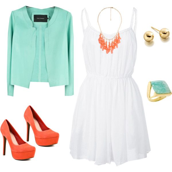 ~Coral/orange shoes, Mint cardigan, White Dress Outfit - spring semi casual