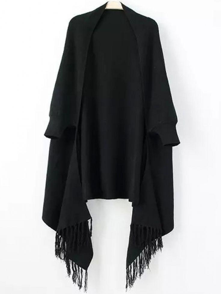 Women Fringe Black Poncho Sweater