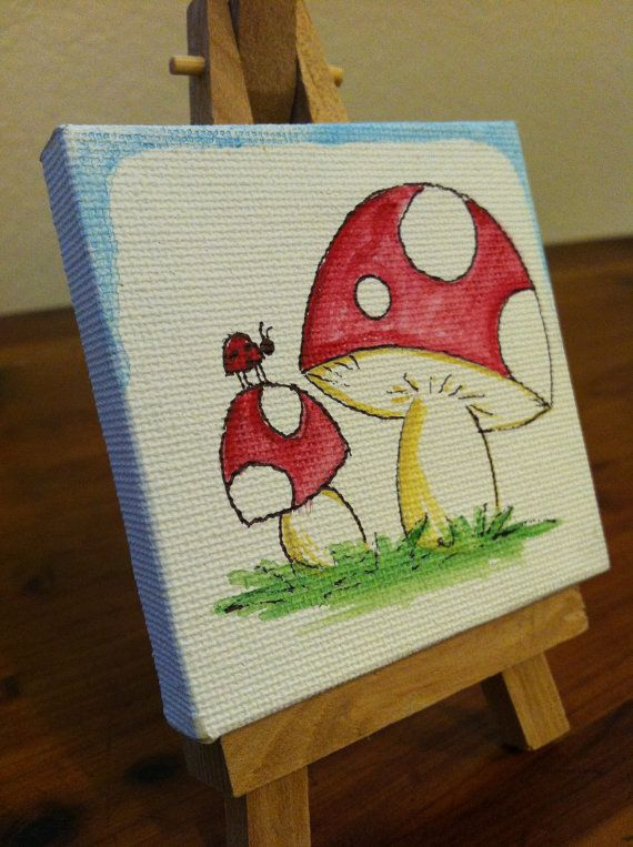 Original Painting // Toadstool // Mini Painting by PauperPaintings, $5.00