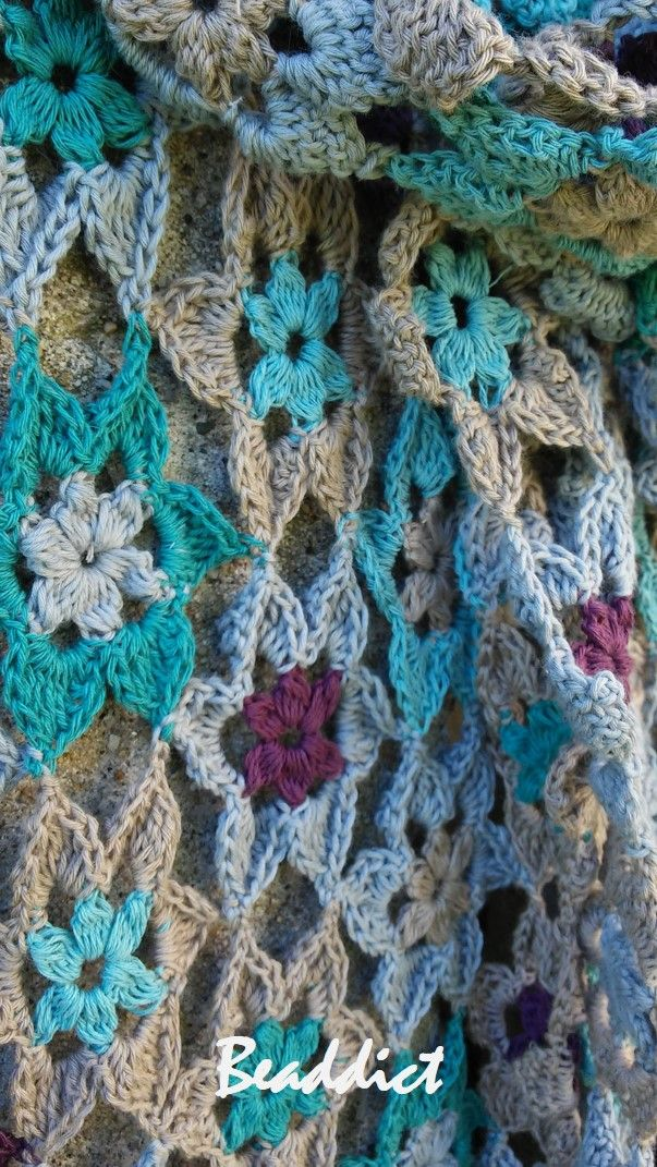 """Stars"" scarf. designed and crocheted by Beaddict. Pure cotton. Teal, grey, eggplant colors."