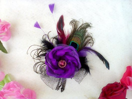 Purple flower with feather combination code BN 001 IDR 45.000