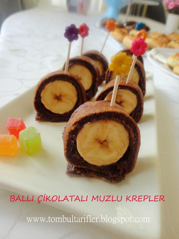 Bengisu'nun doğum günü menüsünde yaptığım Ballı, muzlu, çikolatalı krep ruloları çok lezizdiler