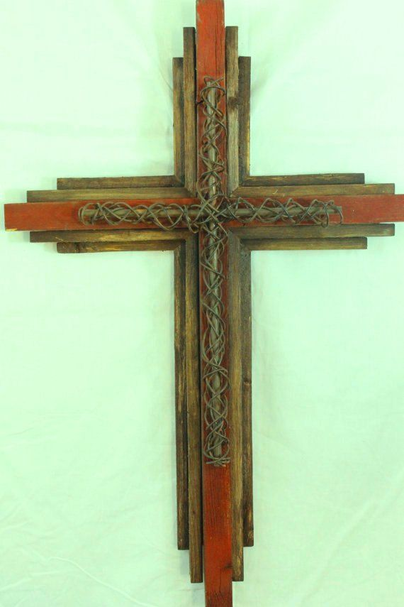 Salvaged Large Wooden Rustic Cross 33 Tall By